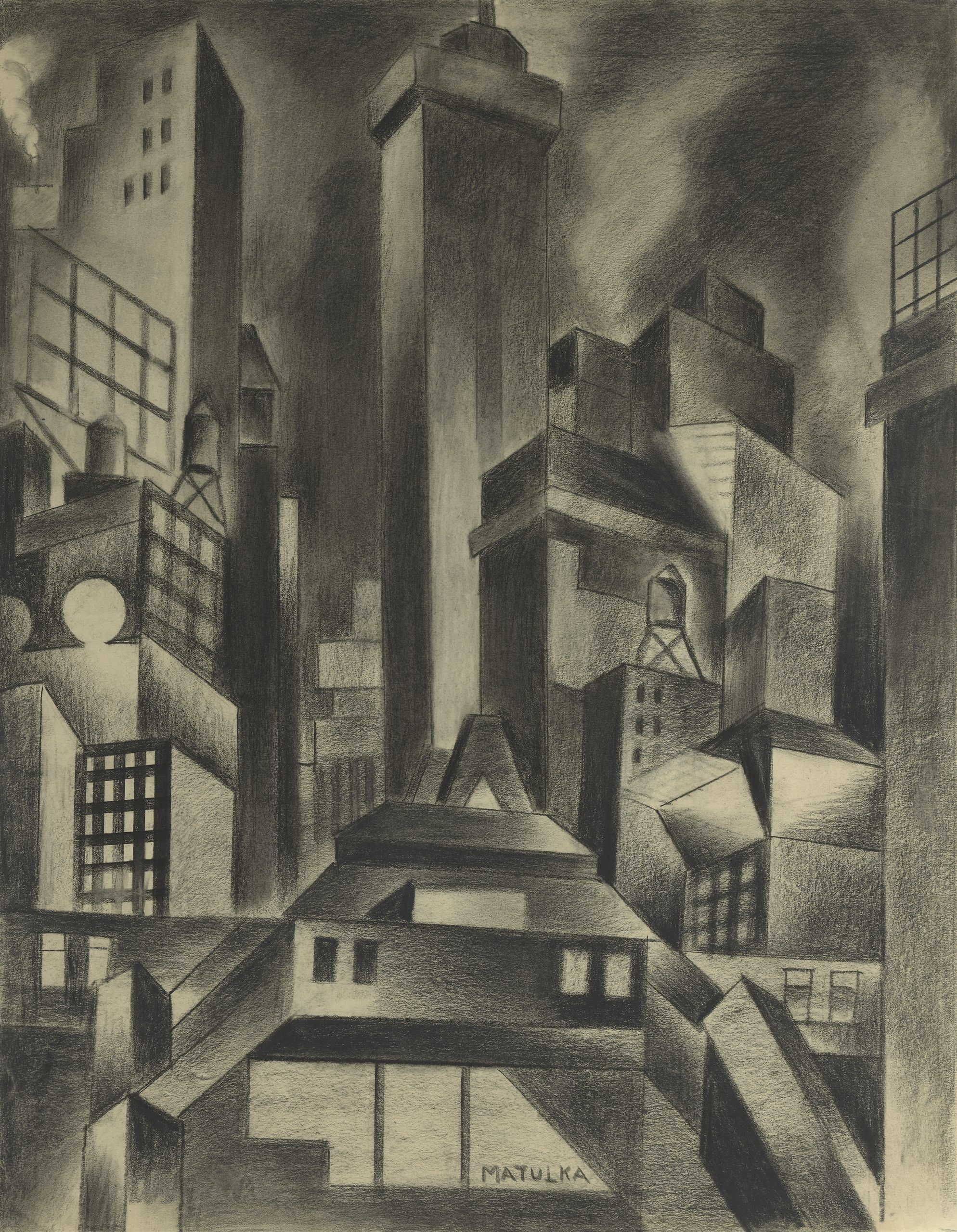 A cubist New York cityscape of tightly composed skyscrapers, an elevated train station, billboards, and water towers.