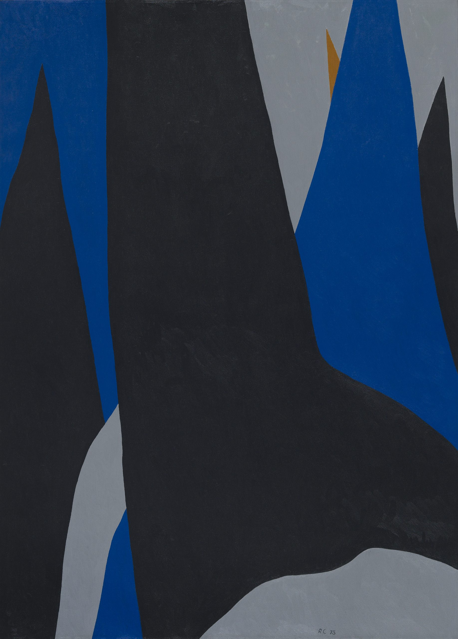 Large triangular peaks of black, blue, and grey and a small golden triangle emerging from the right of the canvas.