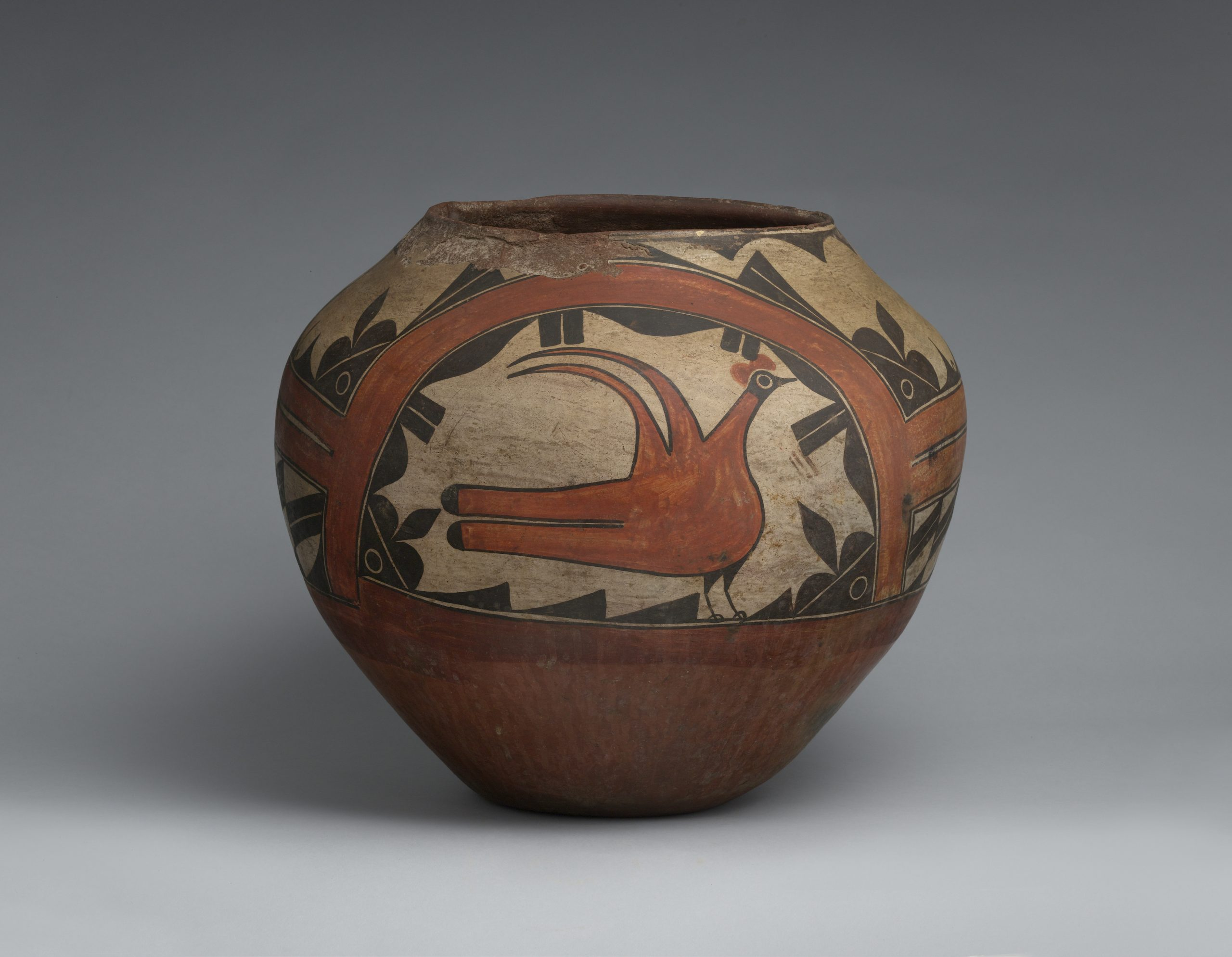 A Zia pot with a large bird in the center surrounded by black and brown patterns.