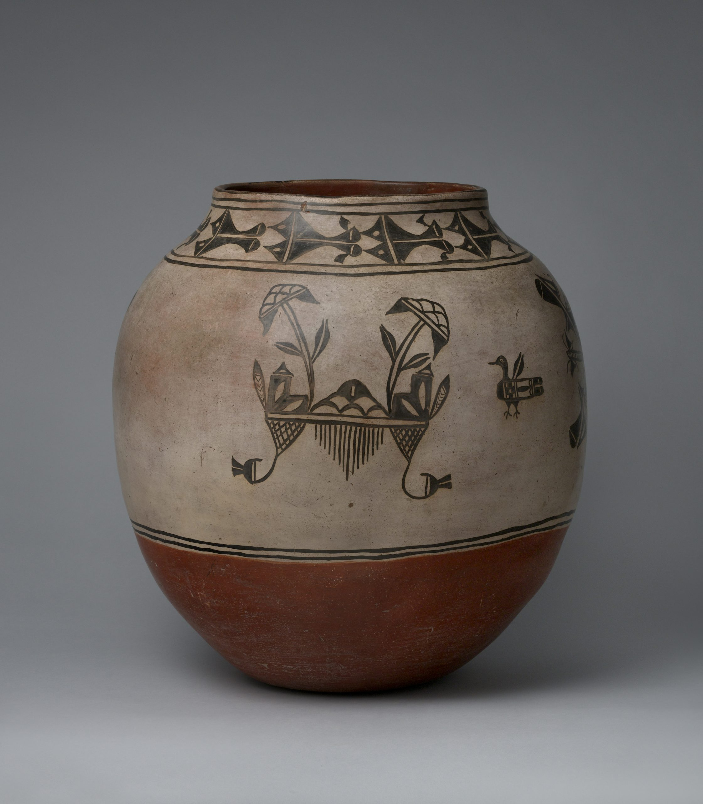 A Cochiti olla with floral designs, waterbird pictorials, and a rust bottom.