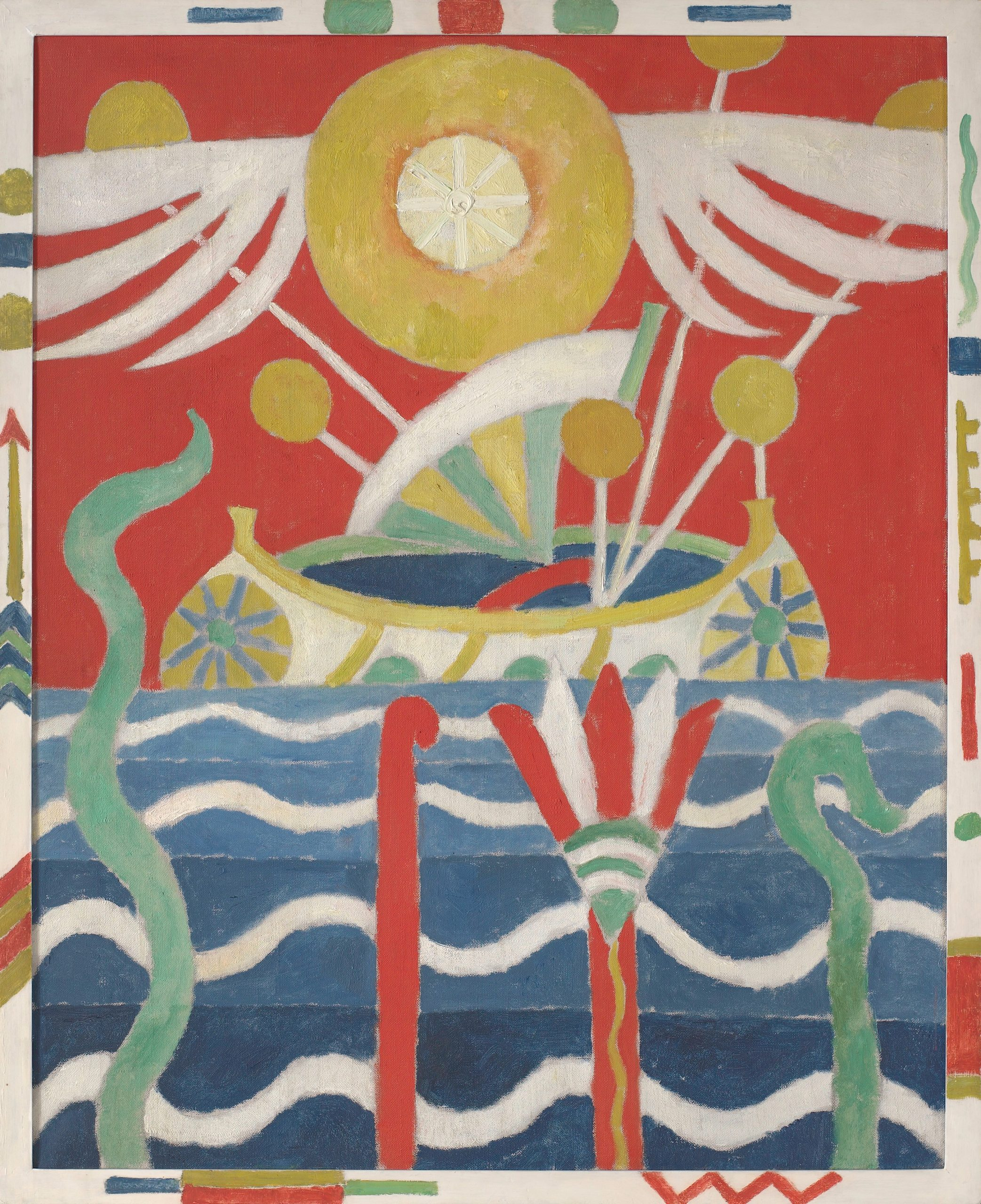 A ship, blue and white waves with four emerging stylized plants, and a yellow sun with symmetrical white wings hovering above.