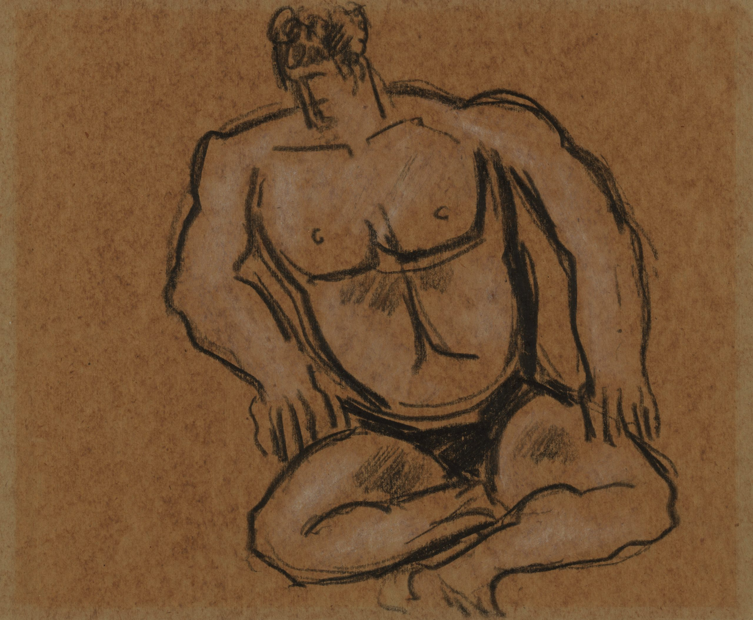 Abstract seated stone figure with a hunched back, naturalistic facial features, and arms resting on the knees.