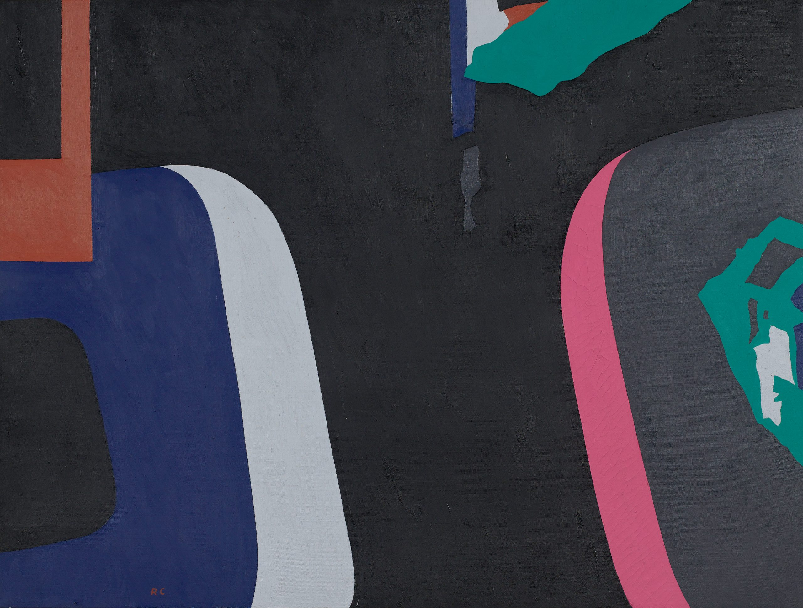 Abstract painting of layered and torn signs depicted as color strips and shapes of blue, white, teal, pink, and orange on a black background.