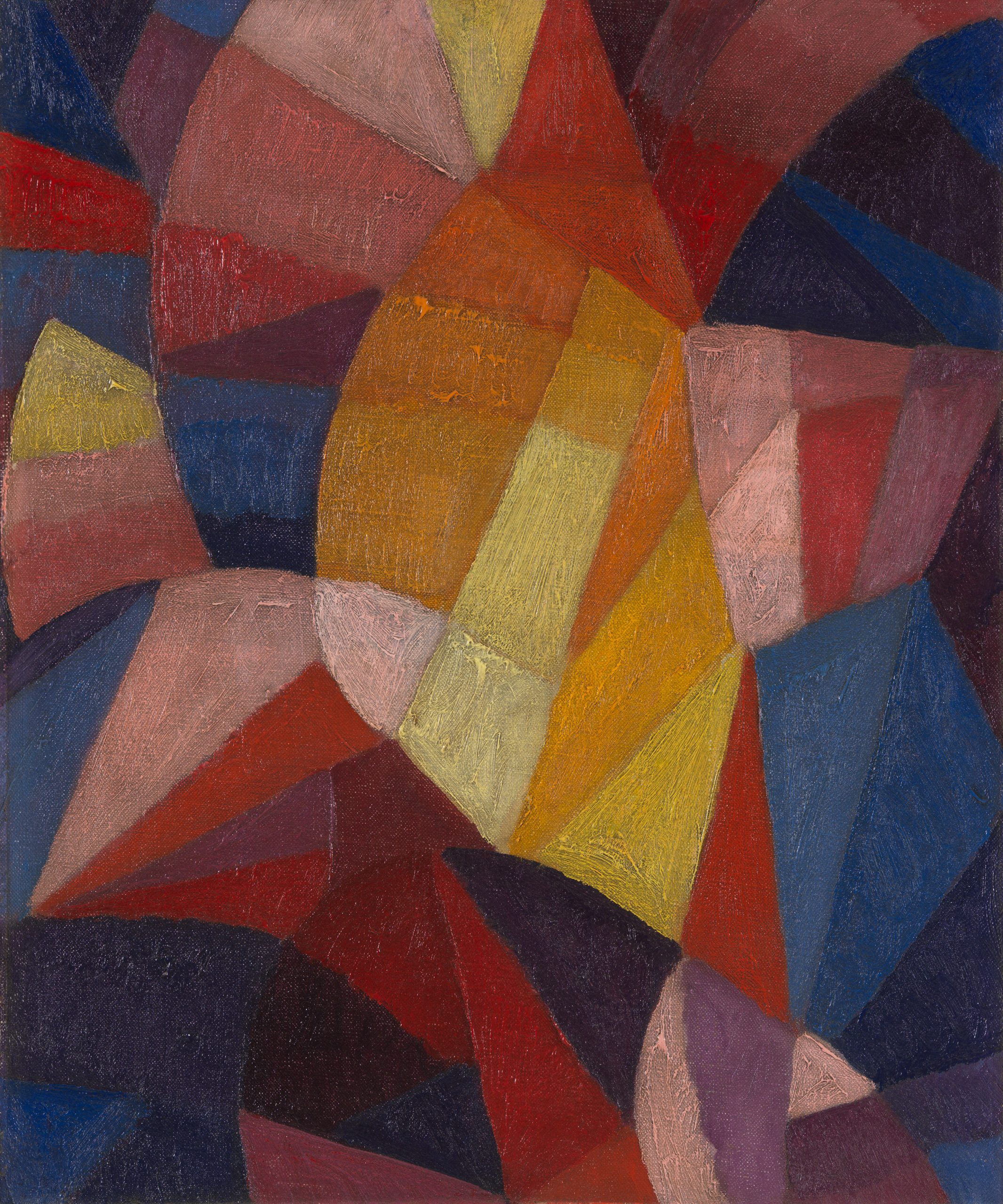 Geometric shapes of purple, pink, red, yellow, and blue with visible brushstrokes fill the canvas.