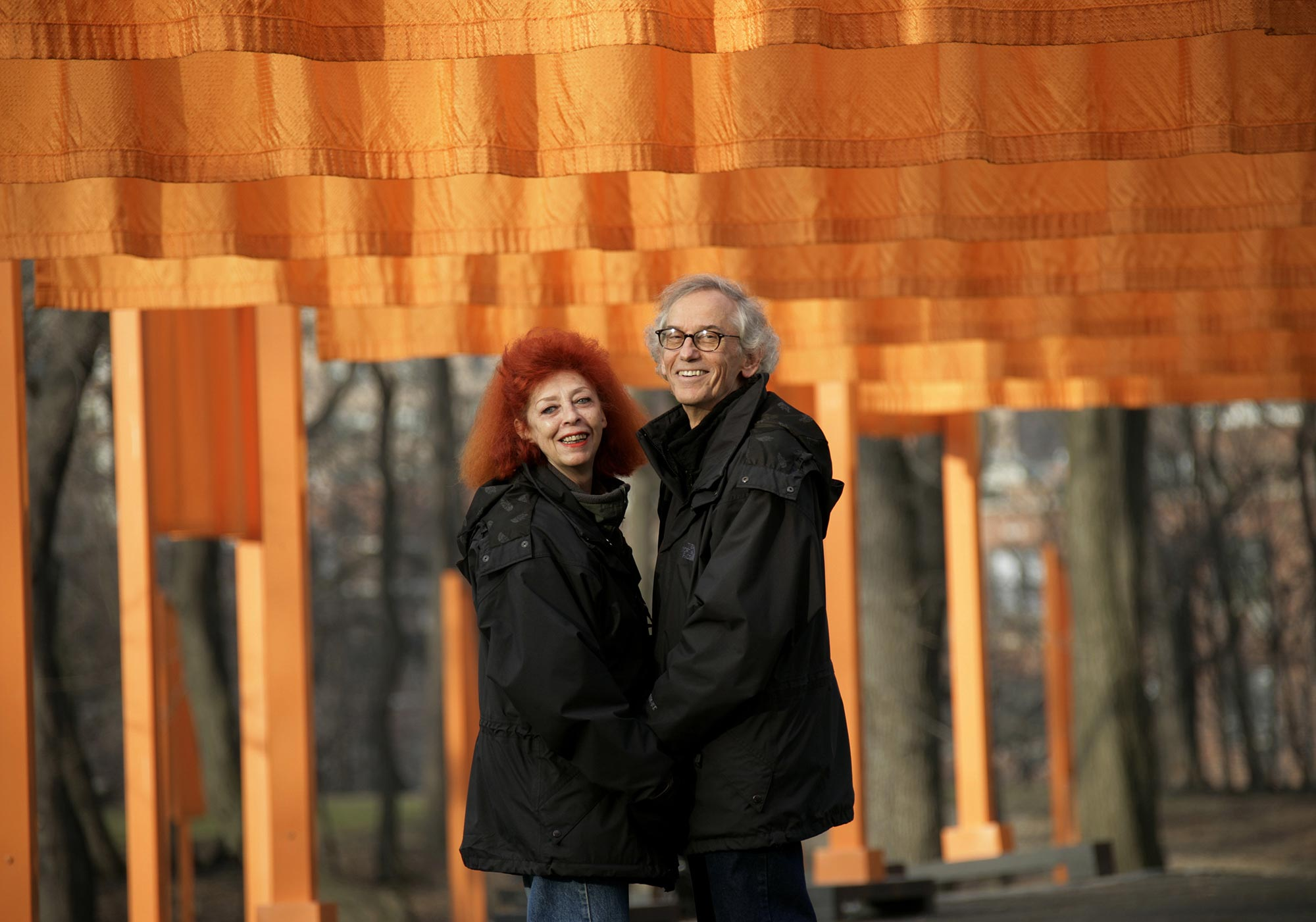 "Christo and Jeanne-Claude during their work of art ""The Gates,"" Central Park, New York City, in 2005."