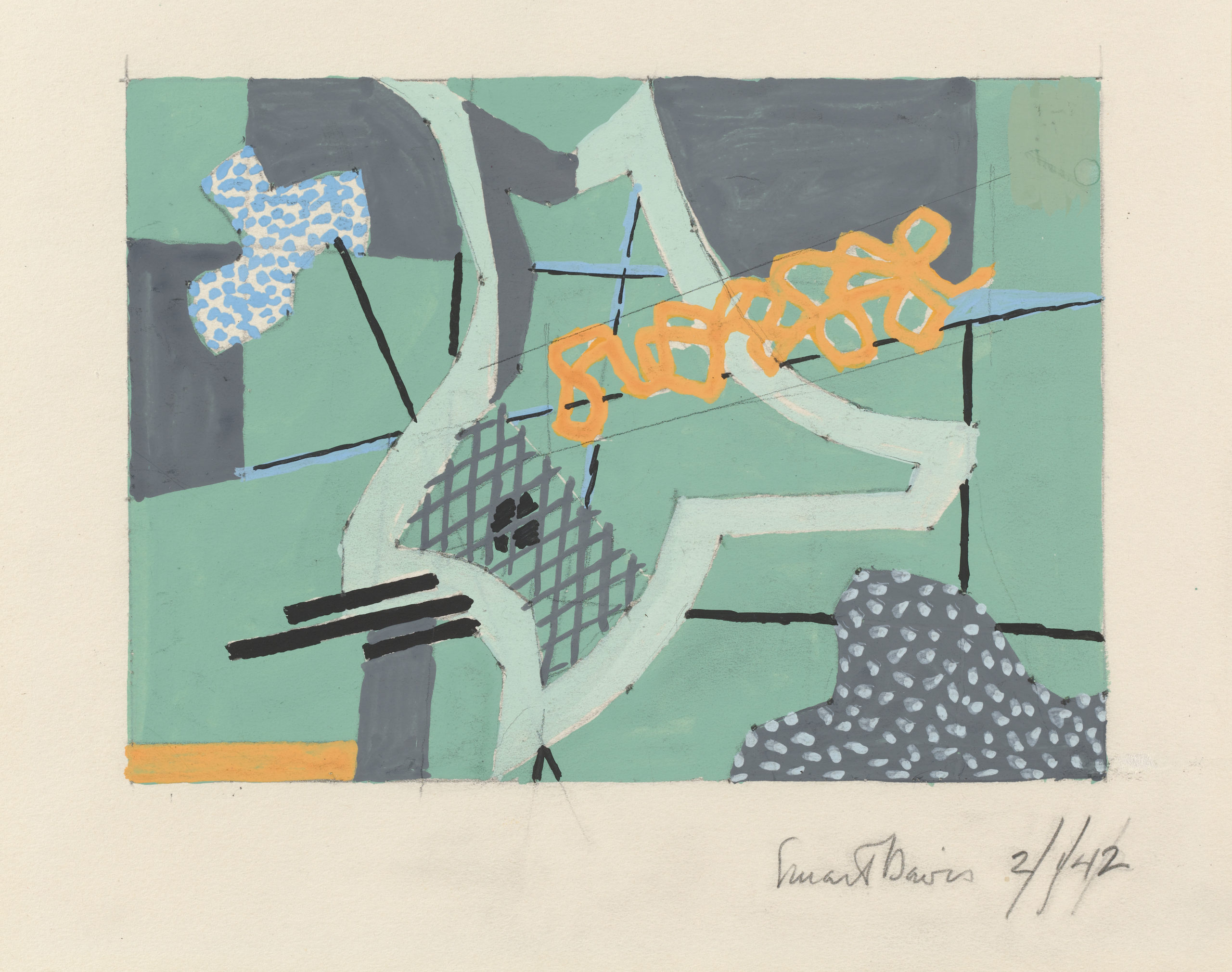 Abstract shapes in grey and light green accented with pastel blue and orange.