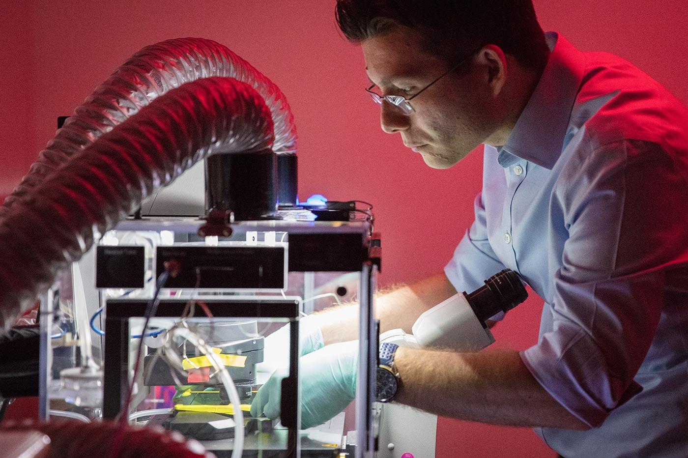 Sergiu Pasca inside a darkroom ab at Stanford University
