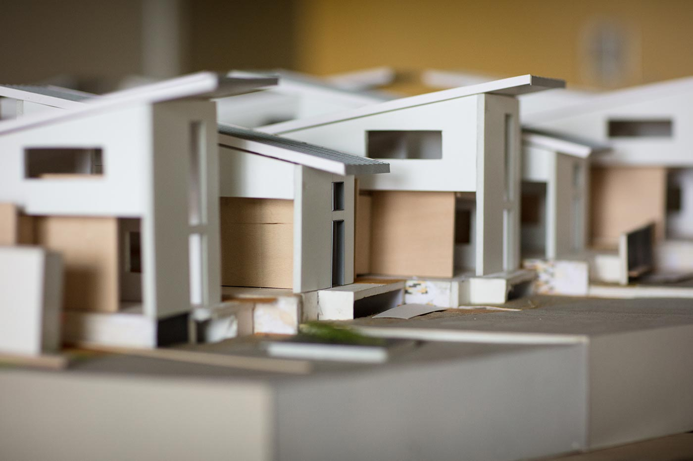 Architectural models of cross-border community stations, education-based public spaces, by Teddy Cruz.