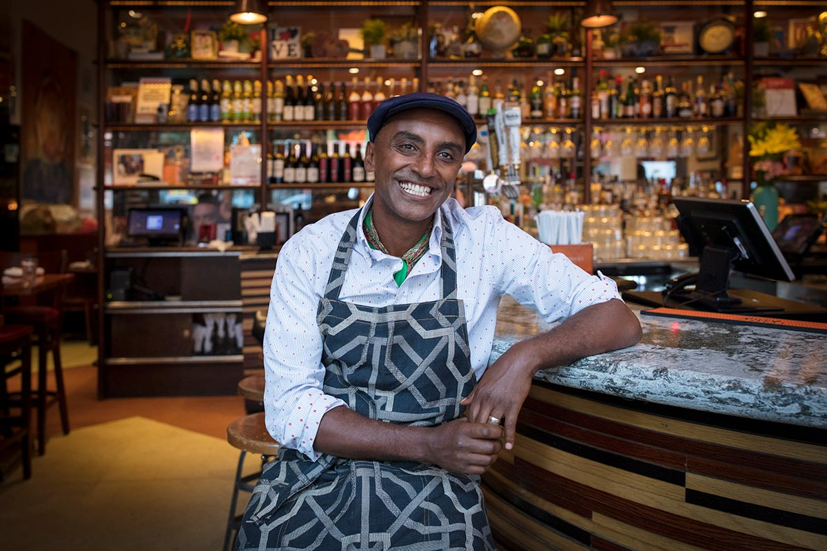 Chef Marcus Samuelsson at his Harlem restaurant Red Rooster