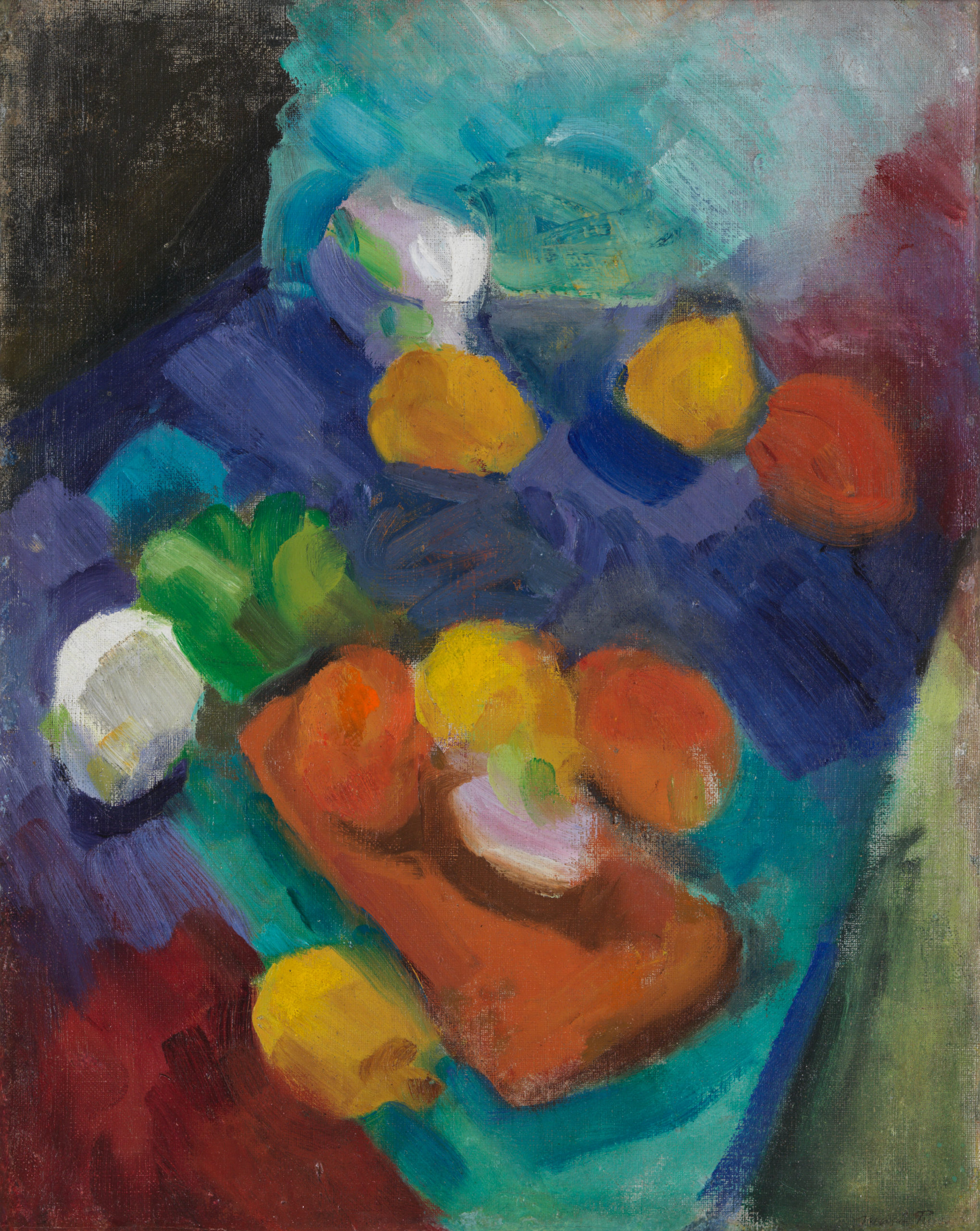 Round yellow and orange fruits on a background of blues and reds painted with thick brushstrokes.