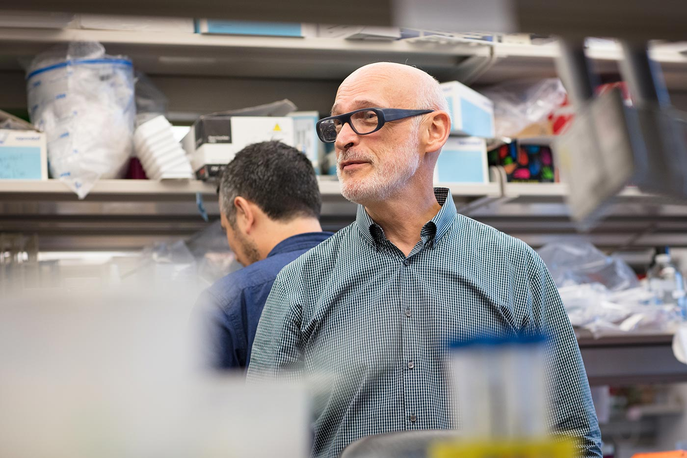 A photo of Alexander Rudensky inside of his lab at Memorial Sloan Kettering