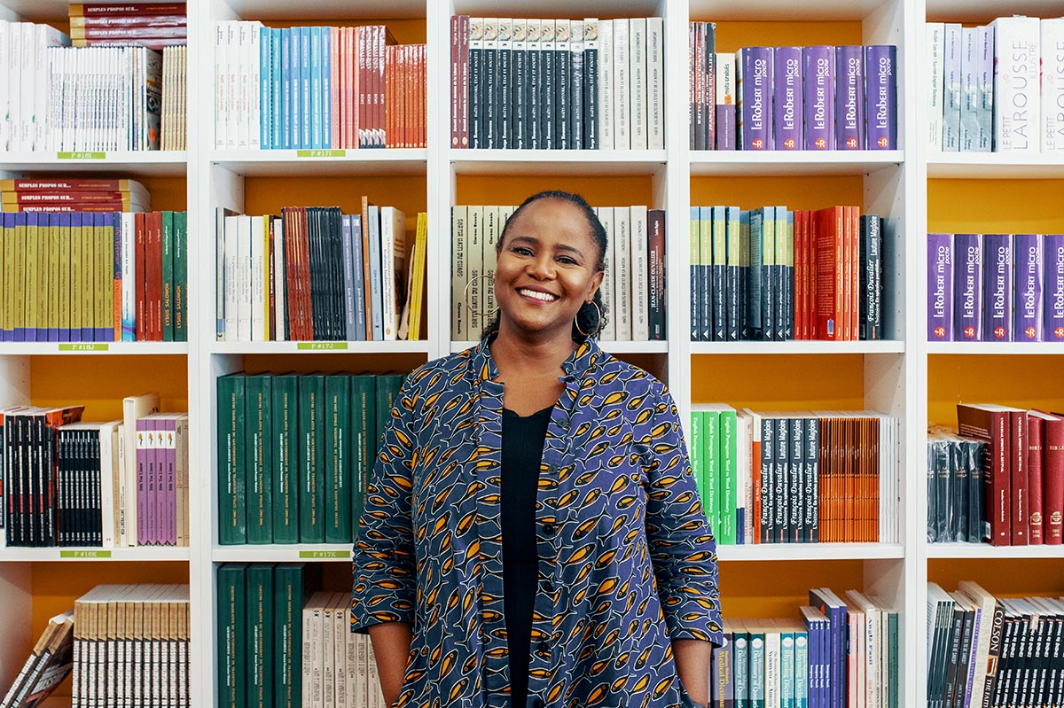 A photo of Edwidge Danticat at Libreri Mapou Bookstore