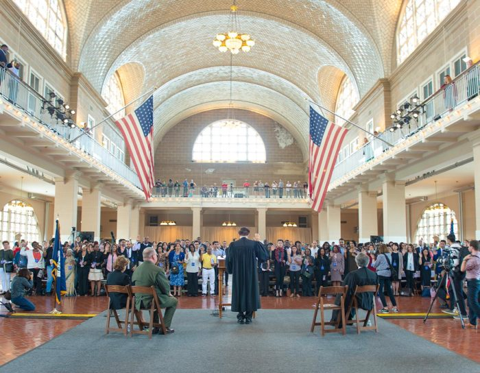 Chief Judge Katzmann swears in new citizens on Ellis Island, September 16, 2016.