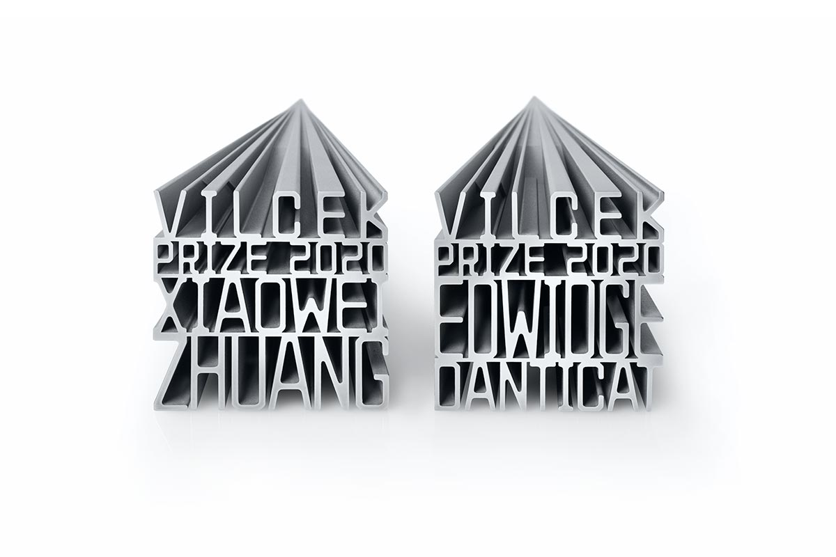 Vilcek Prize trophies for Xiaowei Zhuang and Edwidge Danticat