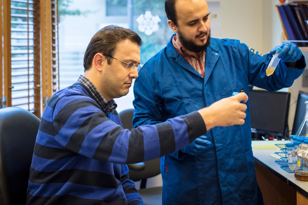 A profile view of Ahmet Yildiz sitting examining lab samples with a colleague.