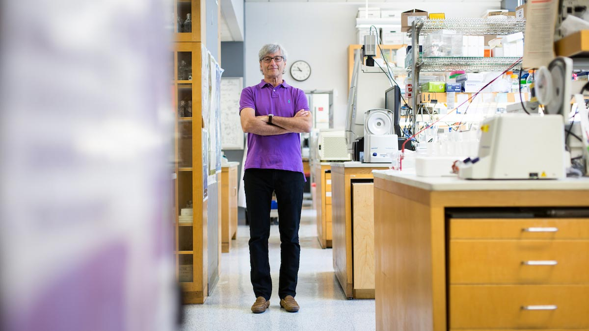 Dan R. Littman is pictured standing alongside the stations in a laboratory, wearing a purple polo.