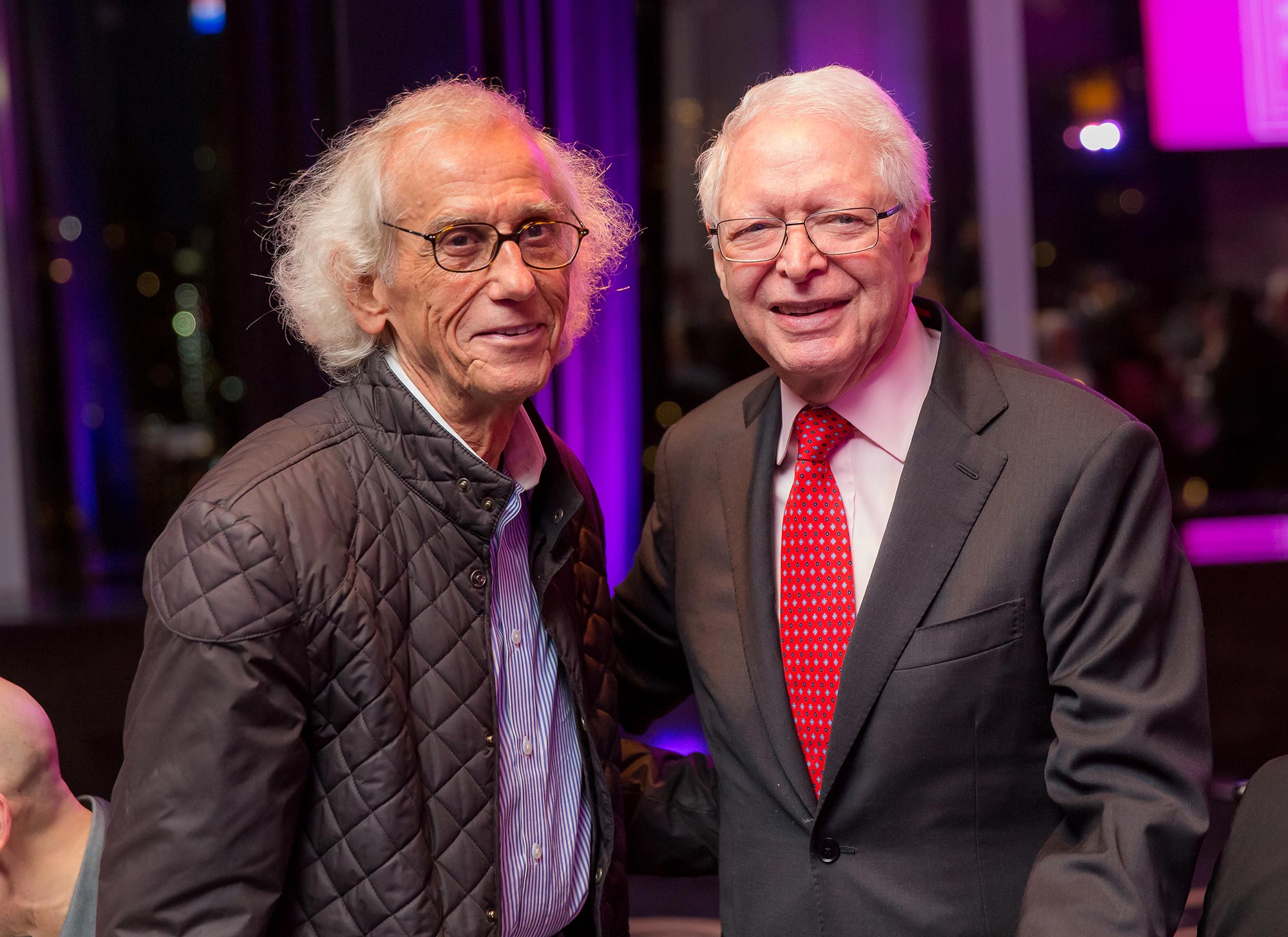 Christo and Jan Vilcek pose for a photo together in 2017.