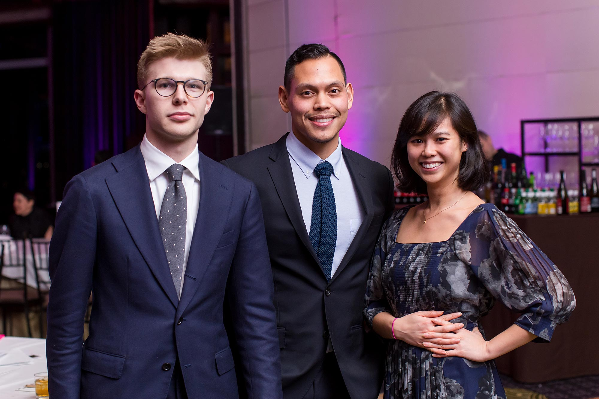 Ronnie Mewengkang poses with colleagues Aaron Pope and Joyce Li at the Vilcek Foundation awards gala.