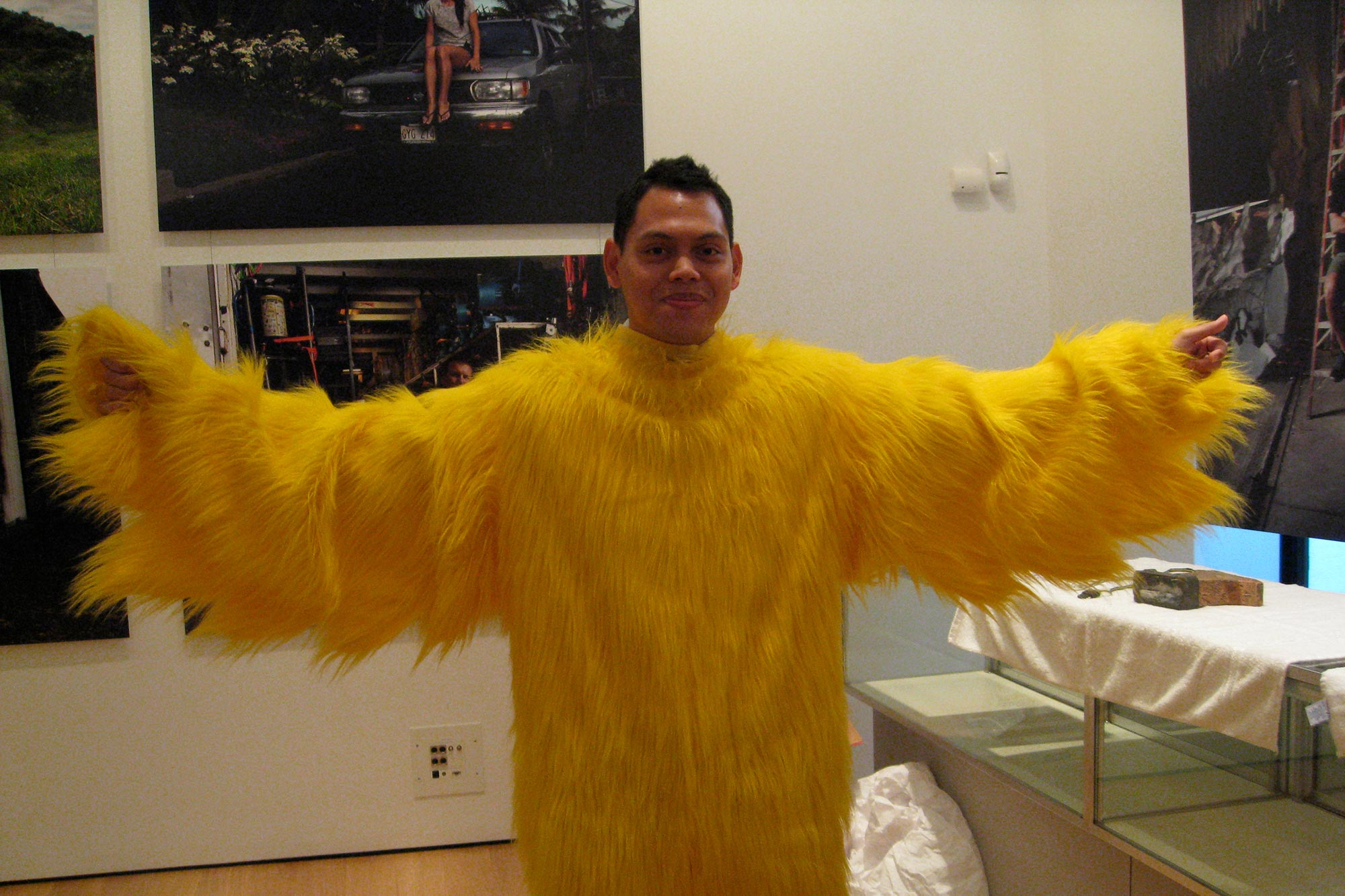 Ronnie Mewngkang wearing a chicken costume from the hit TV show LOST.