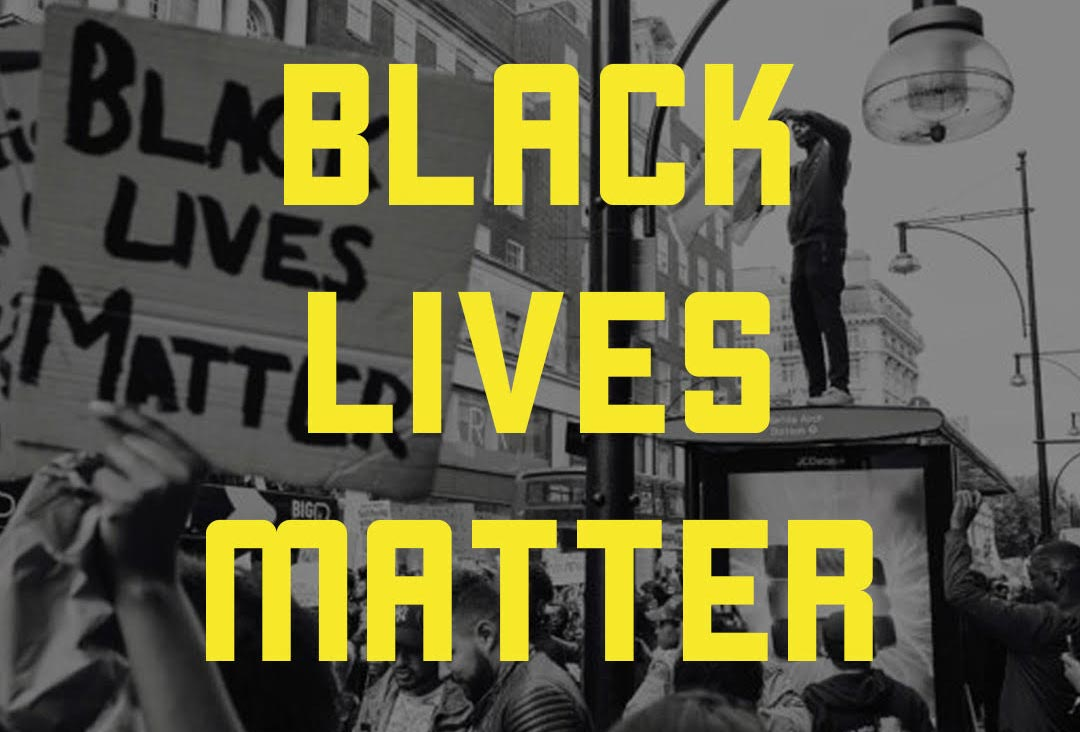 Graphic of Black Lives Matter in yellow against a black and white background of protestors in the street.