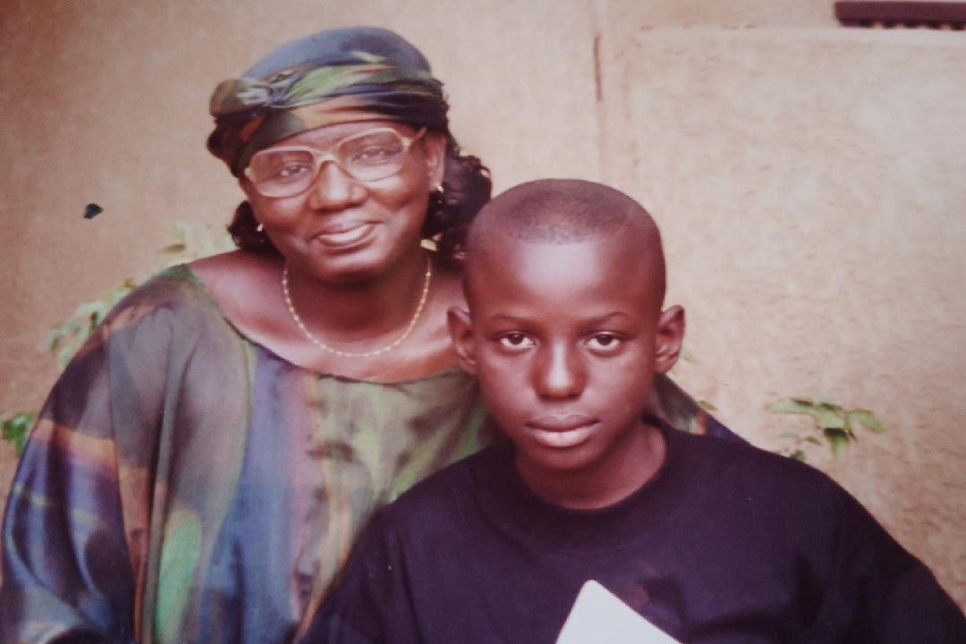 Ibrahim pictured with his mother Nankoria Cissé (née Traoré)