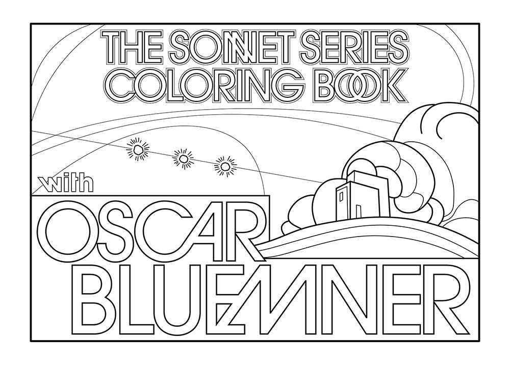 The Sonnet Series Coloring Book, an outline drawing of hills, trees, and sky inspired by a painting of Oscar Bluemner.