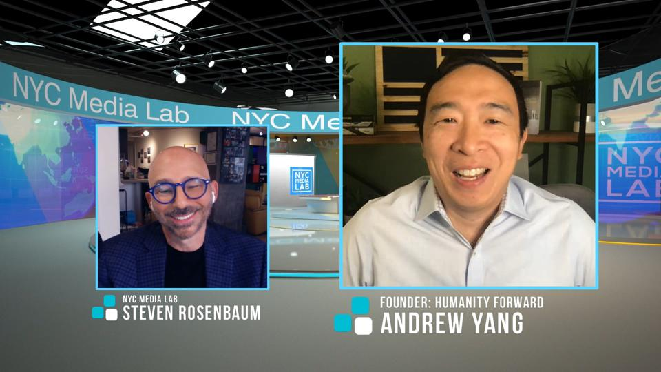 Screen capture of Andrew Yang on NYC Media Lab