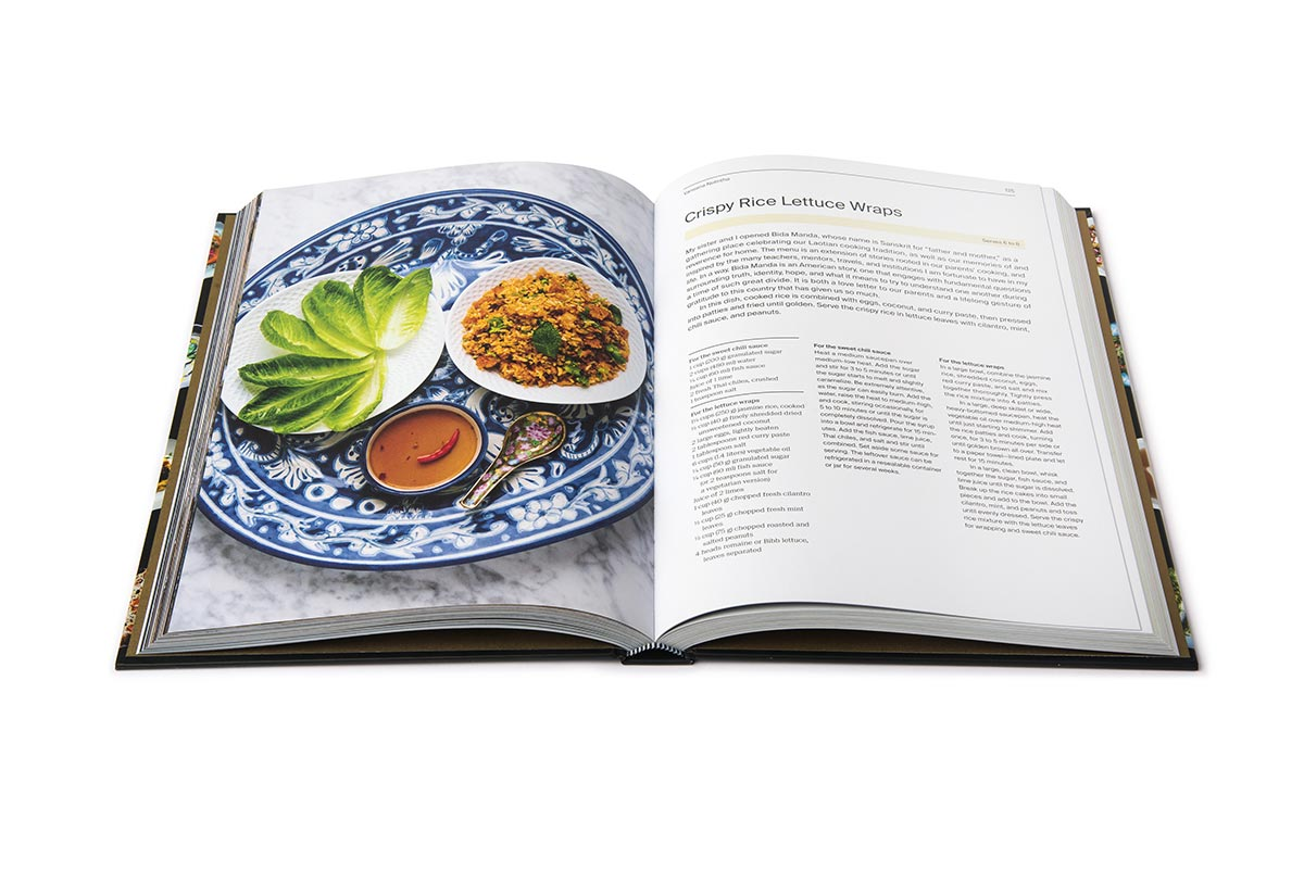 Interior view of a cookbook featuring a colorful dish and recipe.