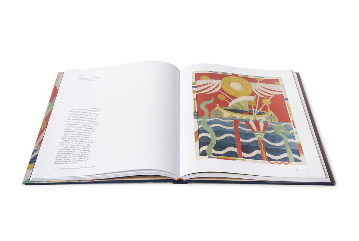 Interior view of Marsden Hartley exhibition catalogue, featuring Hartley's Schiff painting