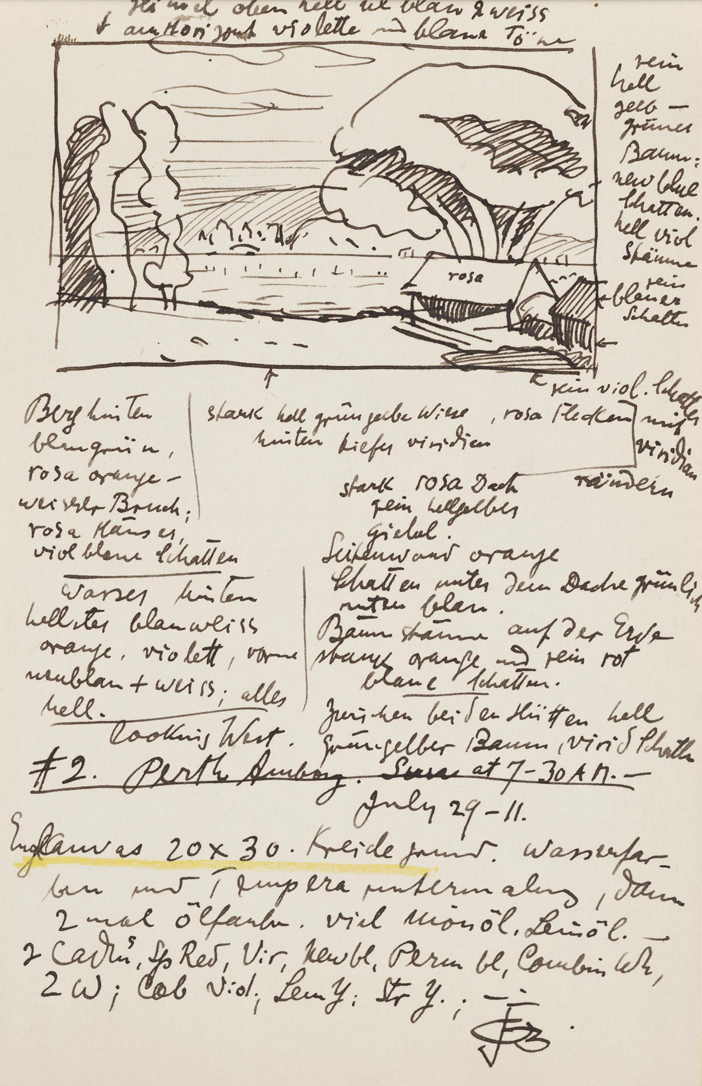 Oscar Bluemner's notes and preparatory sketches about color.