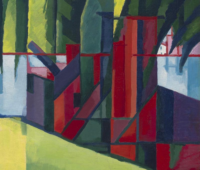 A detail of the fractured planes of the building in the foreground, featuring Bluemner's signature reds.