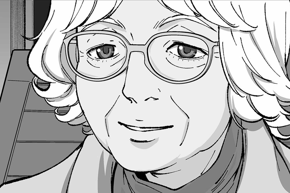 A black and white manga illustration of Denise Scott Brown.