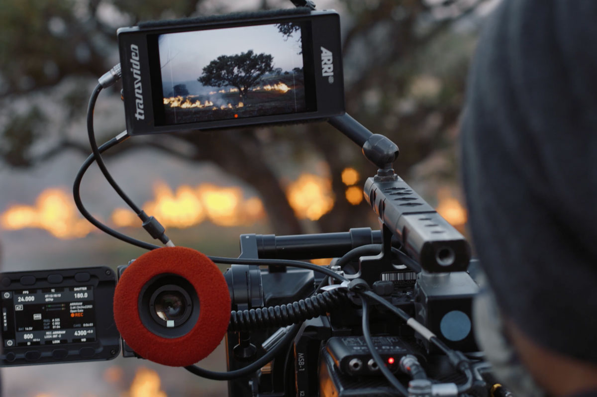 A fire can be seen on the preview screen of a film camera.