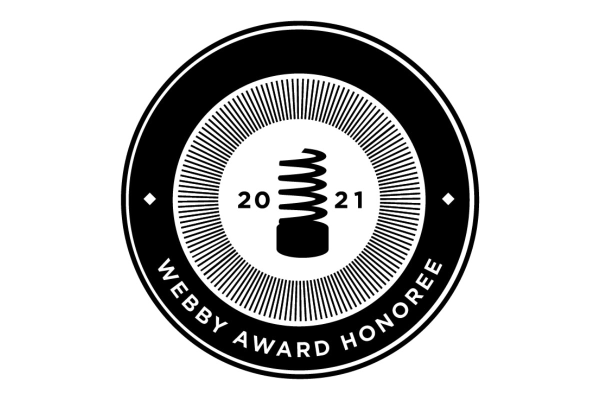 The official graphic for the 2021 Webby Award Honoree badge.