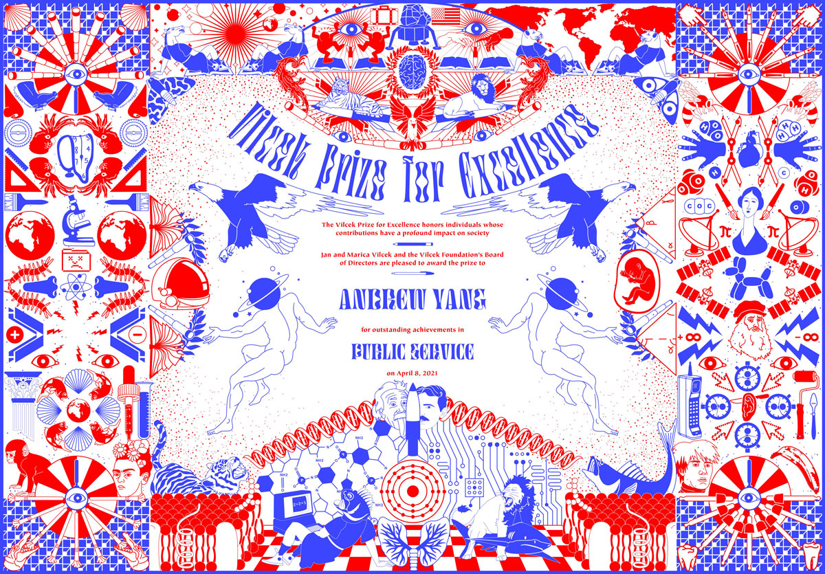 A blue and red certificate with geometric designs.
