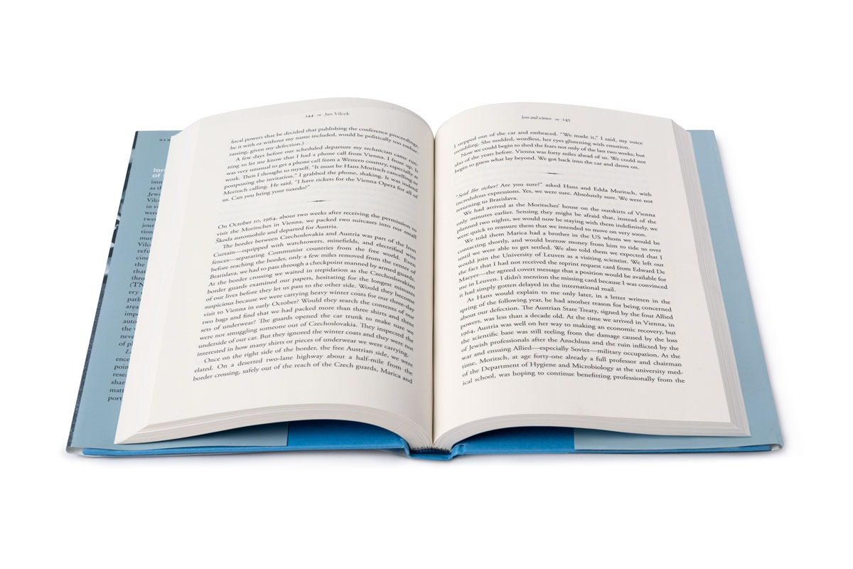 Interior view of Love & Science: pages with text