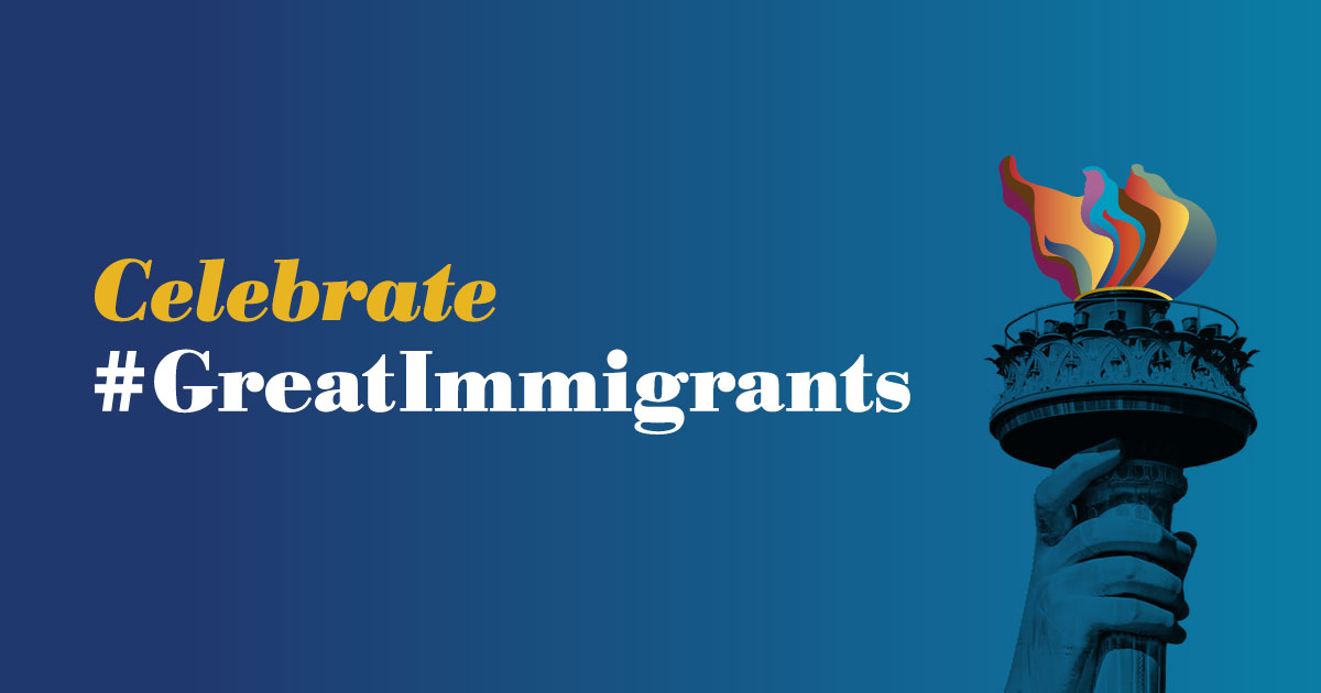 Carnegie Corporation Great Immigrants Header with Statue of Liberty torch.