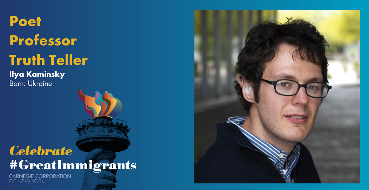 Ilya Kaminsky's headshot on Carnegie Corporation's Great Immigrants banner with blue background.
