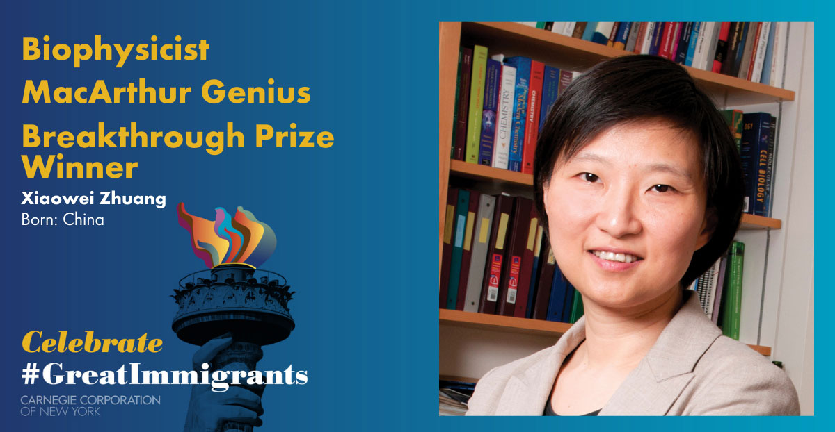 Xiaowei Zhuang's headshot on Carnegie Corporation's Great Immigrants banner with blue background.