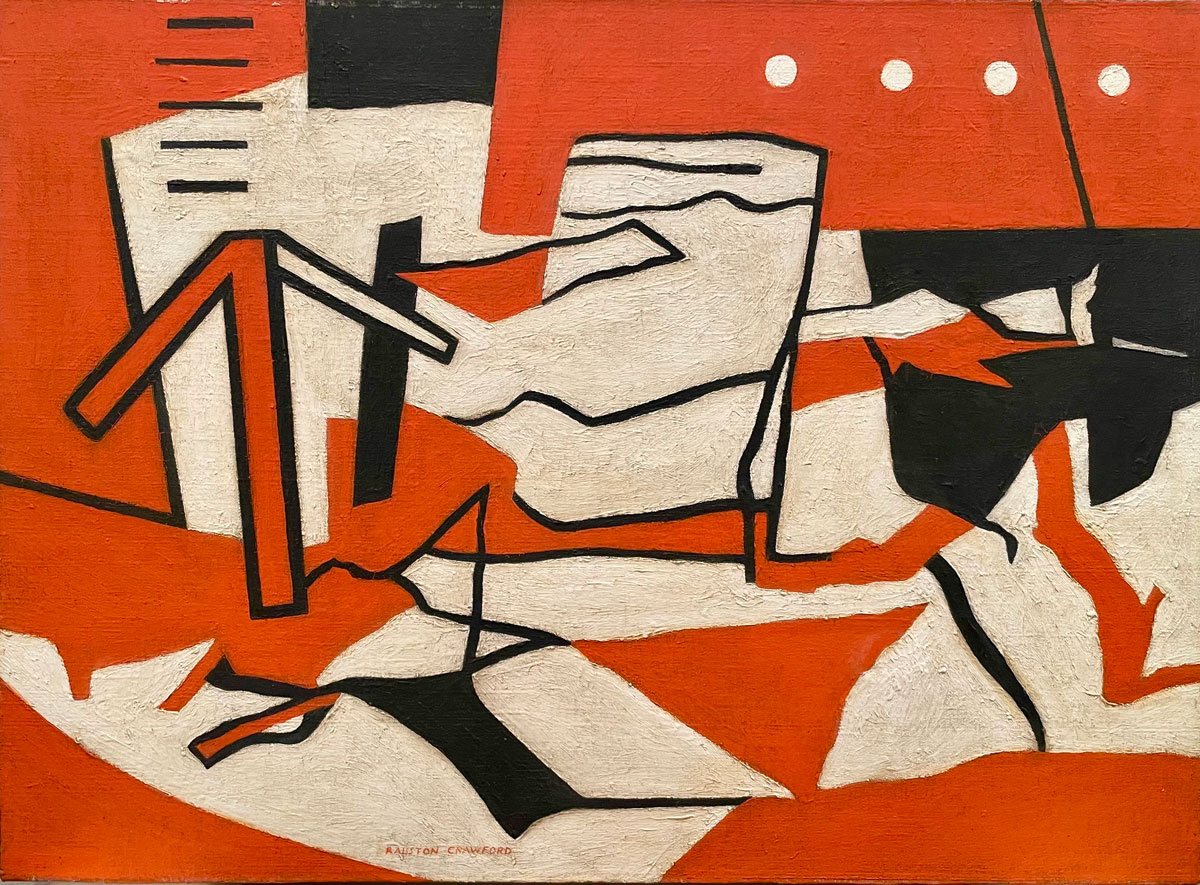 Orange background with black and white shapes and solid white lines.