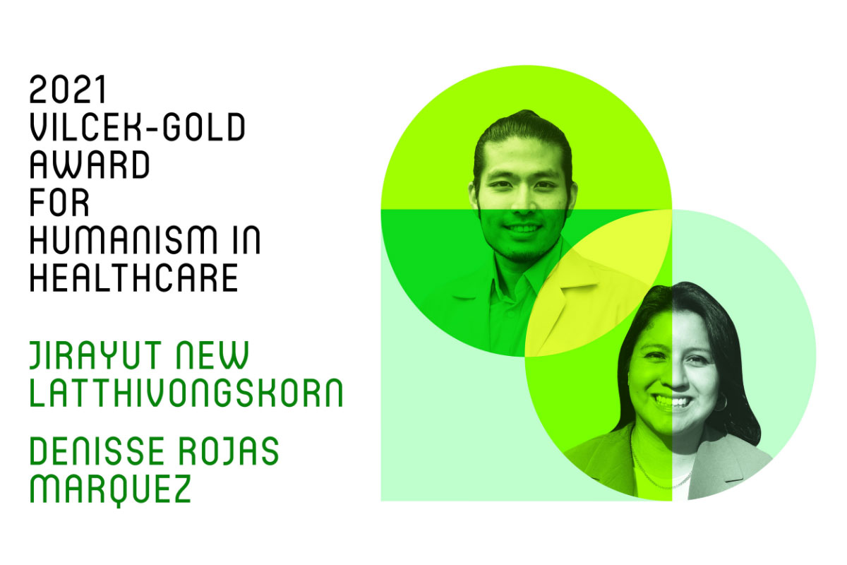 Vilcek-Gold announcement banner including New and Denisse's photographs in a graphic, green heart.