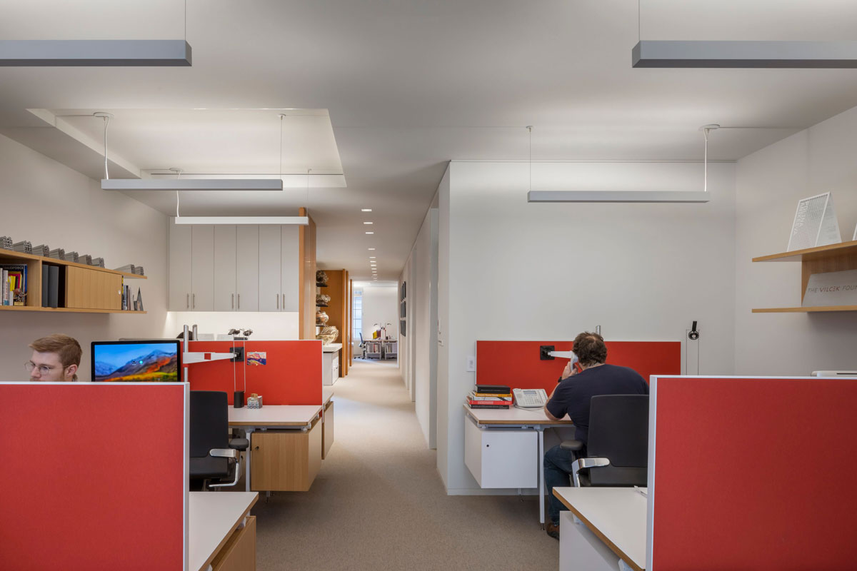 The 3rd floor of the Vilcek Foundation with individual workspaces.