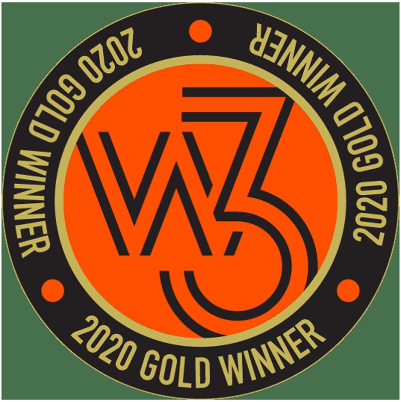 The W3 Gold Award logo in orange and black.