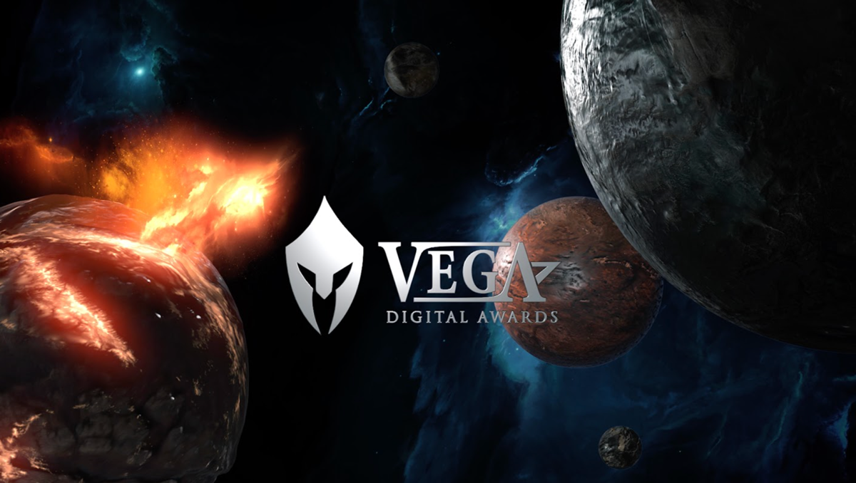 The Vega Awards logo with an outer space graphic behind it.