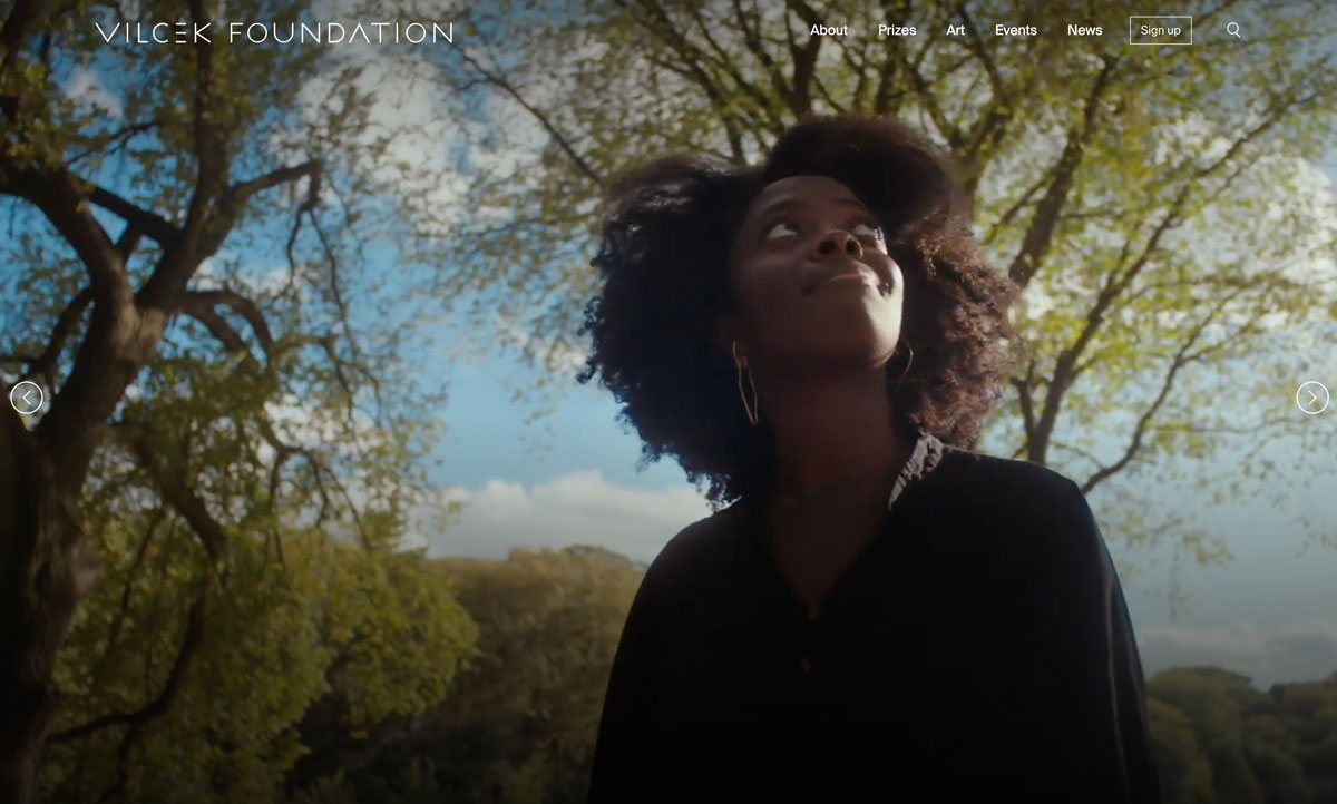 A photo of Yaa Gyasi on the homepage of The Vilcek Foundation.