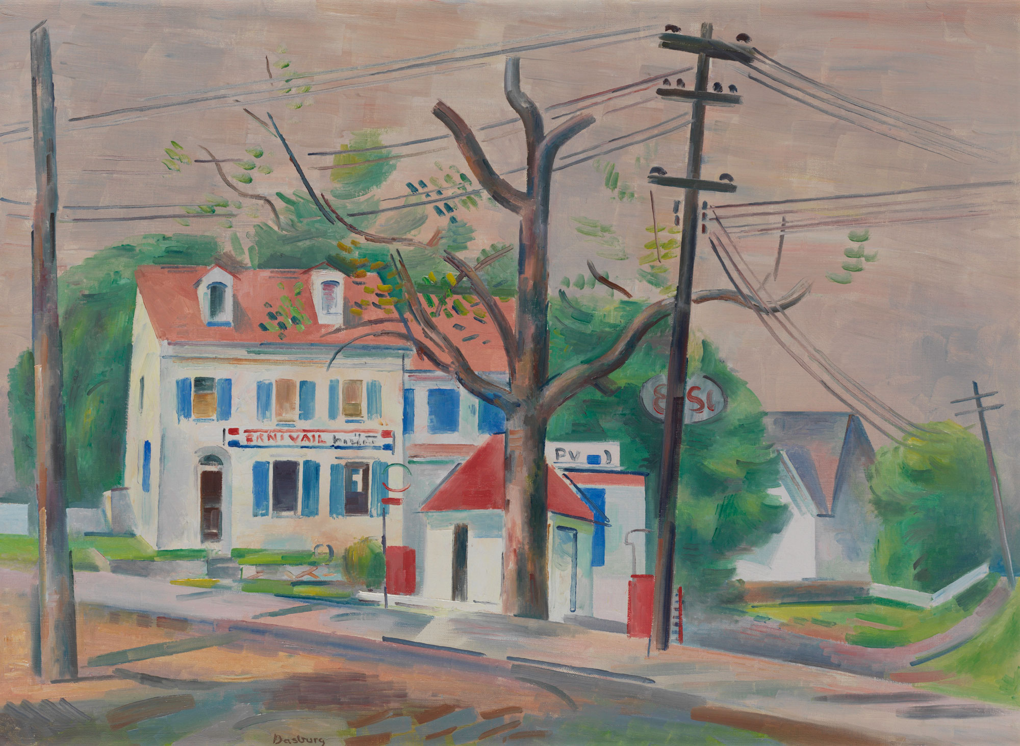 Oil painting of houses, trees, and power lines