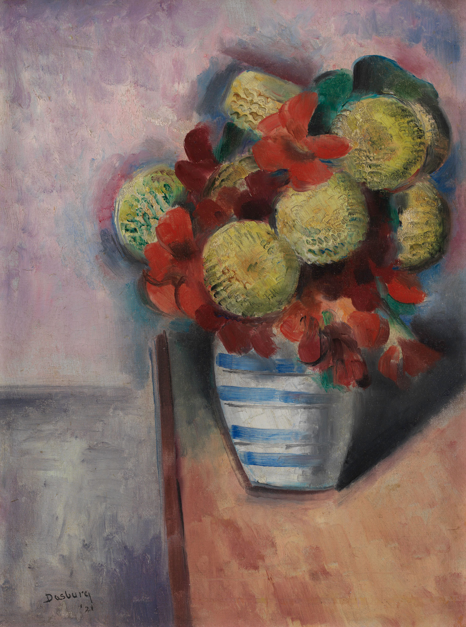 Floral still life painting featuring flowers and vase on a table.