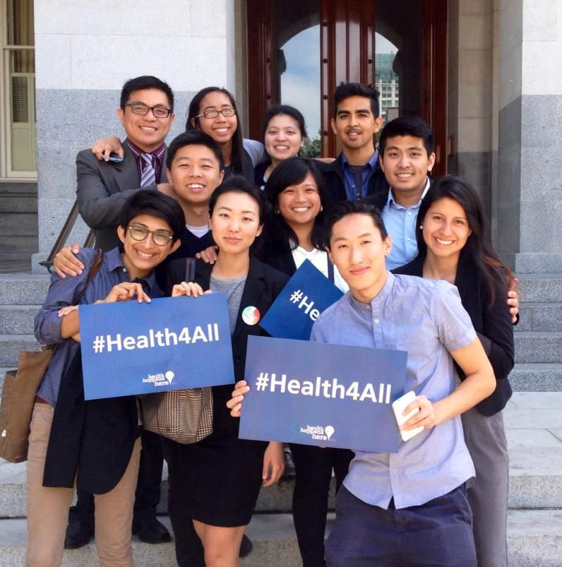 The Pre-Health Dreamers lobbying for healthcare for all in front of the California state capitol.