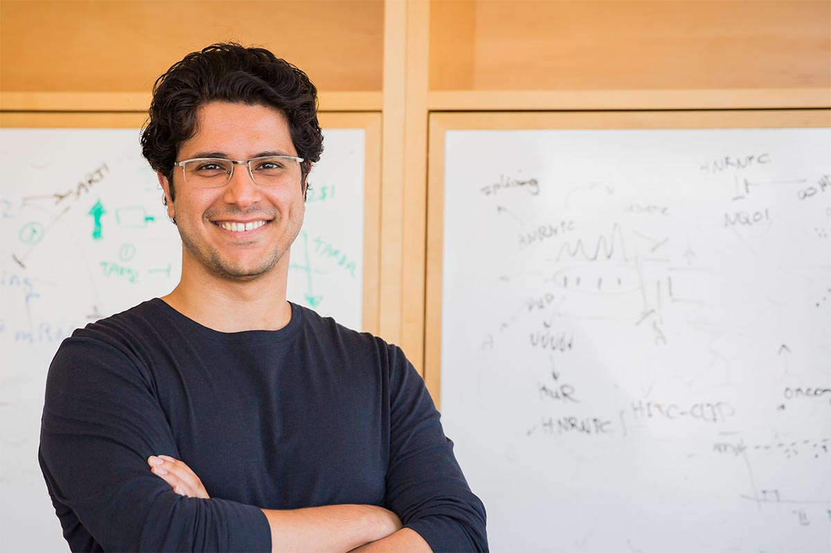Hani Goodarzi, arms crossed, standing in front of a whiteboard with scientific equations.